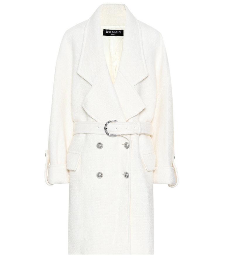 Balmain Wool-blend coat in white