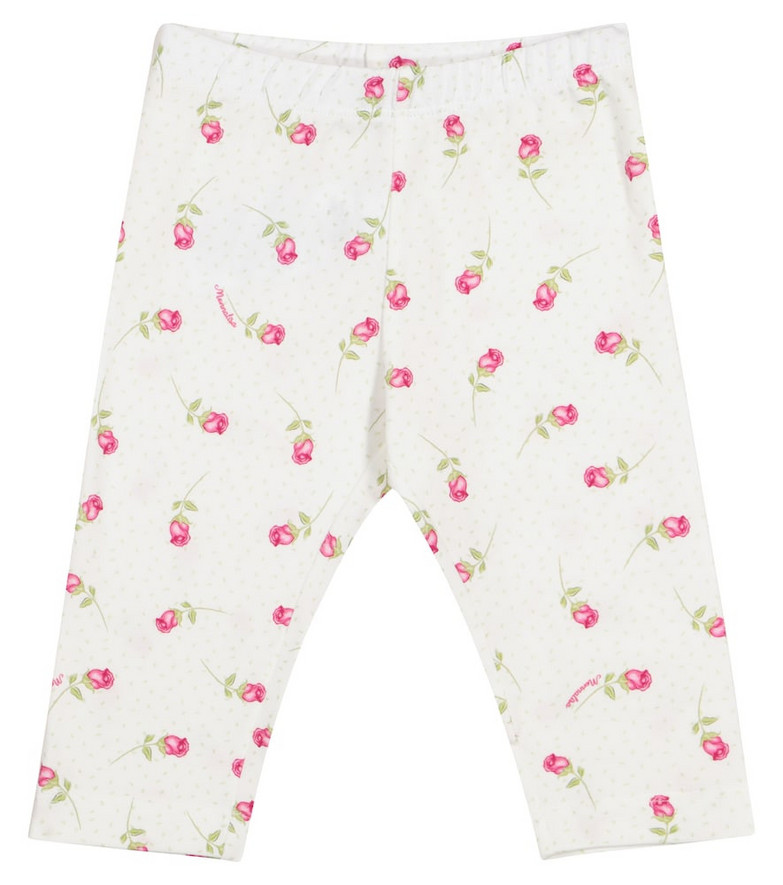 Monnalisa Baby floral stretch-cotton leggings in white