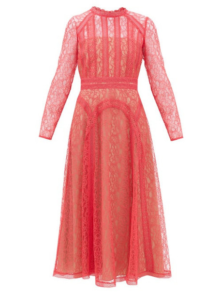 Self-portrait - Floral-lace Midi Dress - Womens - Pink