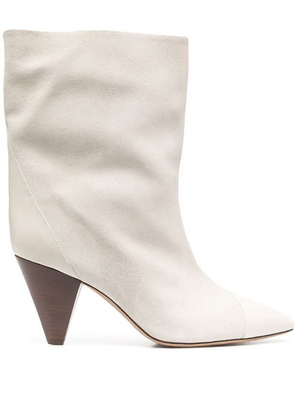 Isabel Marant pointed toe mid heel boots in white
