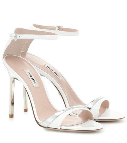 Miu Miu Metallic and patent leather sandals in white