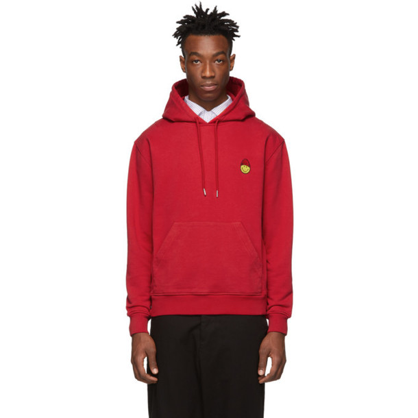 AMI Alexandre Mattiussi Red Smiley Edition Patch Hoodie