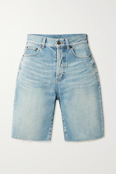 SAINT LAURENT - Frayed Denim Shorts - Blue