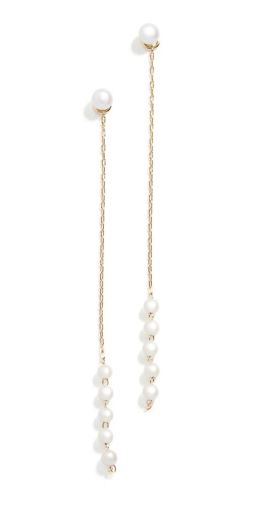 Mizuki Pearl Chain Drop Earrings in gold