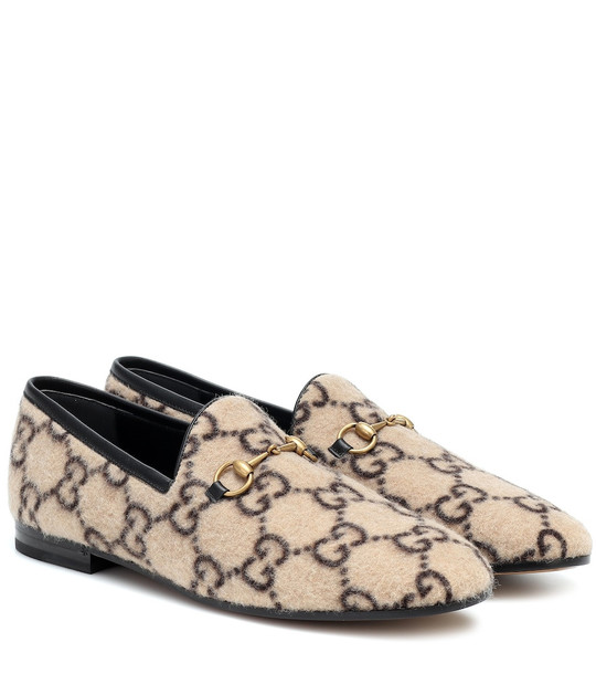 Gucci Jordaan GG wool loafers in beige