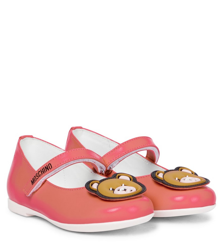 Moschino Kids Baby leather ballet flats in red