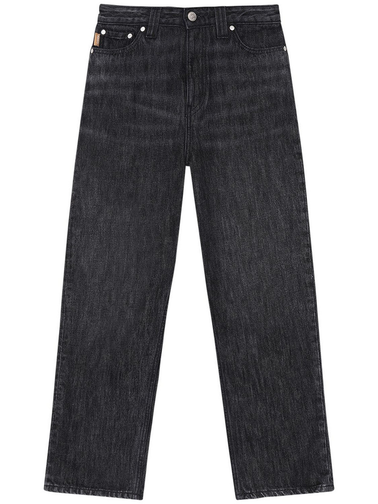 GANNI Washed Cotton Denim Cropped Jeans in grey
