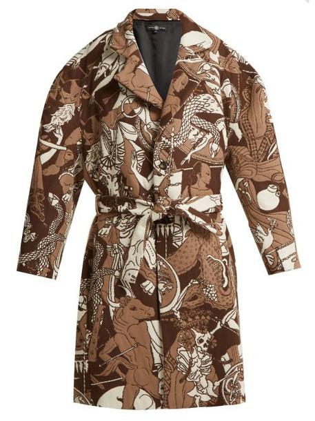 Edward Crutchley - Oversized Wool Jacquard Coat - Womens - Brown Multi
