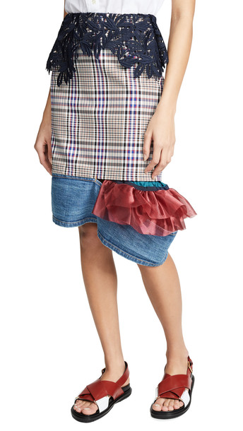 Kolor Plaid Contrast Hem Skirt in blue / red