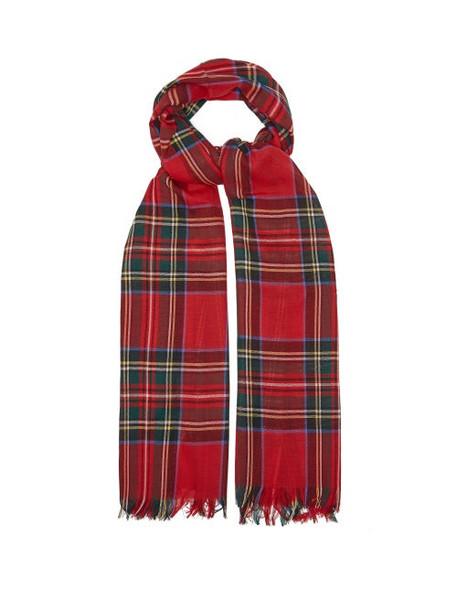 Johnstons Of Elgin - Fringed Tartan Wool Scarf - Womens - Red Multi