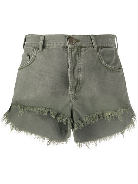 One Teaspoon Le Wolves denim shorts in green