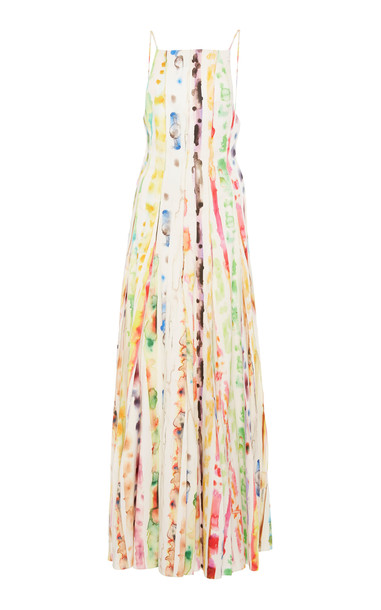 Rosie Assoulin Pleated Printed Stretch Cotton-Blend Maxi Dress Size: 8 in print