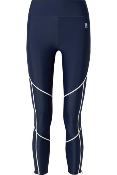 P.E NATION - Quarter Force Embroidered Stretch Leggings - Navy