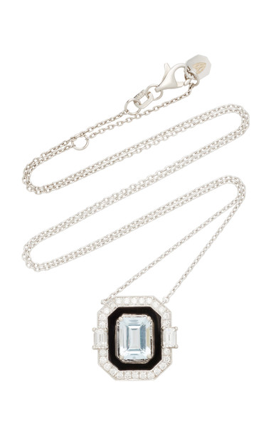 Melis Goral 18K White Gold And Multi-Stone Necklace in blue