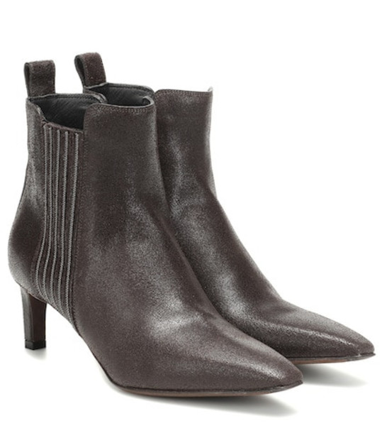 Brunello Cucinelli Embellished leather ankle boots in brown