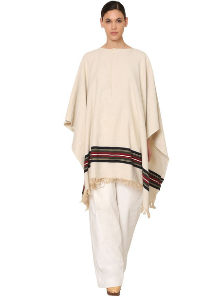 JACQUEMUS Fringed Wool Blend Poncho in beige