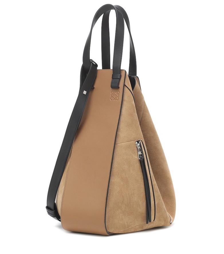 Loewe Hammock Large suede and leather shoulder bag in brown