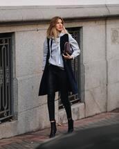 jacket,vest,black boots,heel boots,ankle boots,black leather pants,grey hoodie,bag