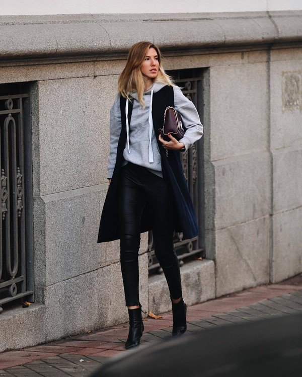 jacket vest black boots heel boots ankle boots black leather pants grey hoodie bag