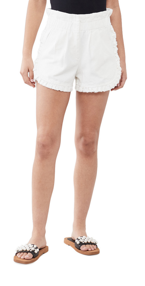 Sea Neon Acid Denim Ruffle Shorts in white