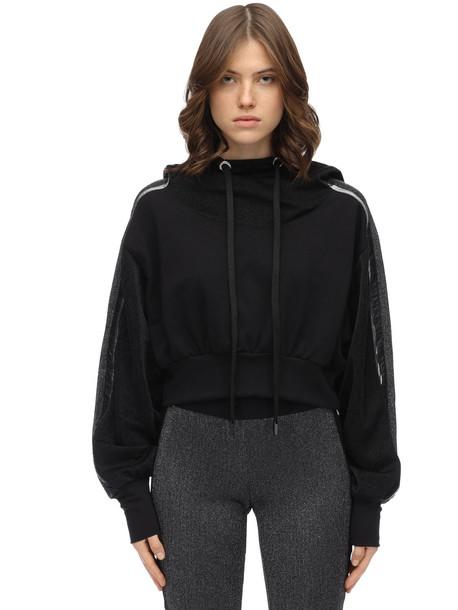 NO KA'OI Blackout Cotton Blend Hoodie in black / silver