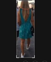 dress,turquoise,pink strap,backless,backless dress