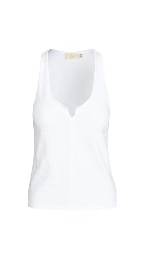 Nation LTD Saffi Raw Sliced Tank in white
