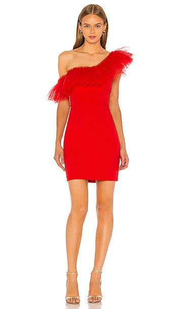 BCBGMAXAZRIA One Shoulder Mini Dress in Red