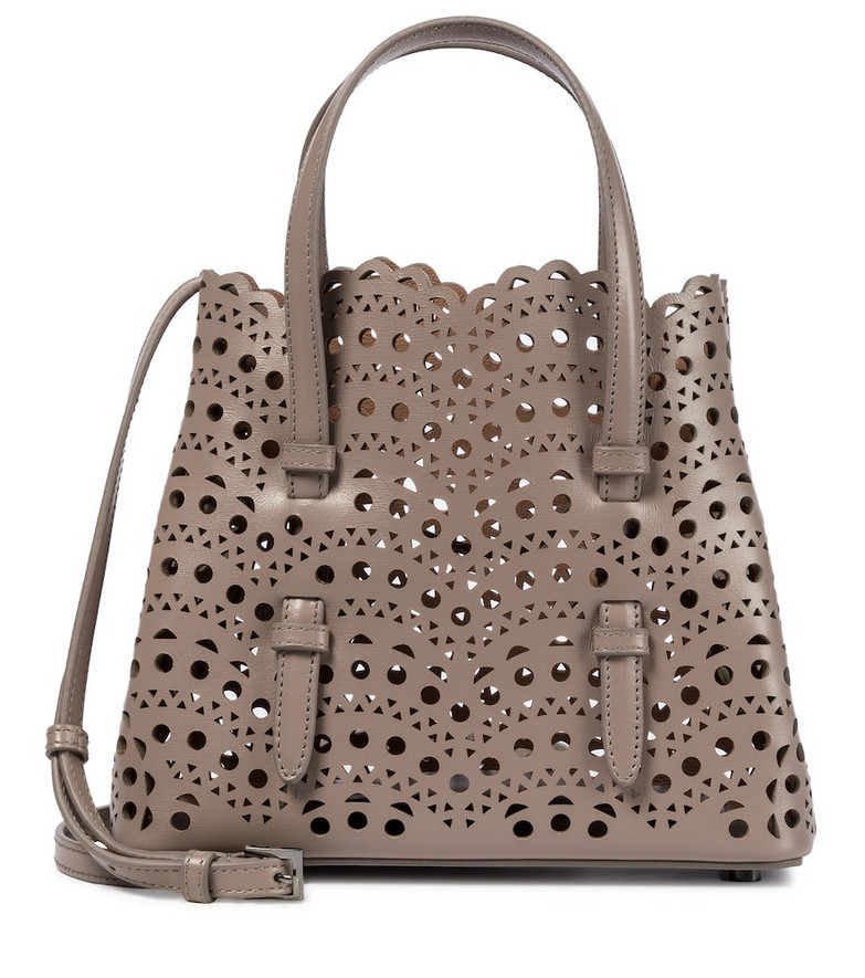 Alaïa Mina 20 Mini leather tote in grey