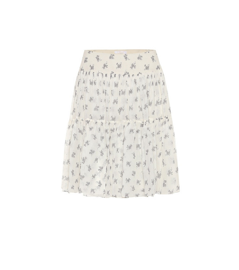 Chloé Floral silk miniskirt in white