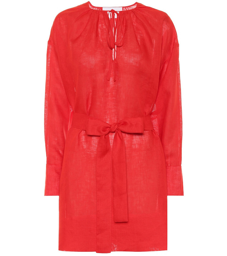 Asceno Santorini linen minidress in red