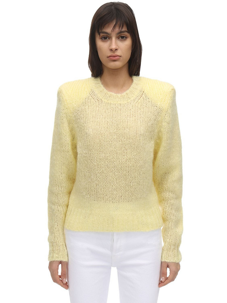 ISABEL MARANT Idona Mohair Blend Knit Sweater in yellow