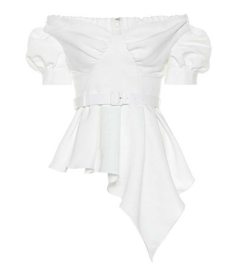 Self-Portrait Off-the-shoulder belted top in white