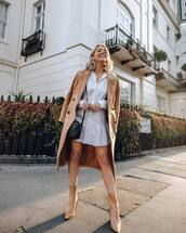 coat,long coat,double breasted,gucci,ankle boots,shirt dress,white dress,mini dress,black bag