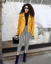 jacket,yellow jacket,suede jacket,high waisted pants,black and white,skinny pants,platform boots,black bag,patent bag,black turtleneck top