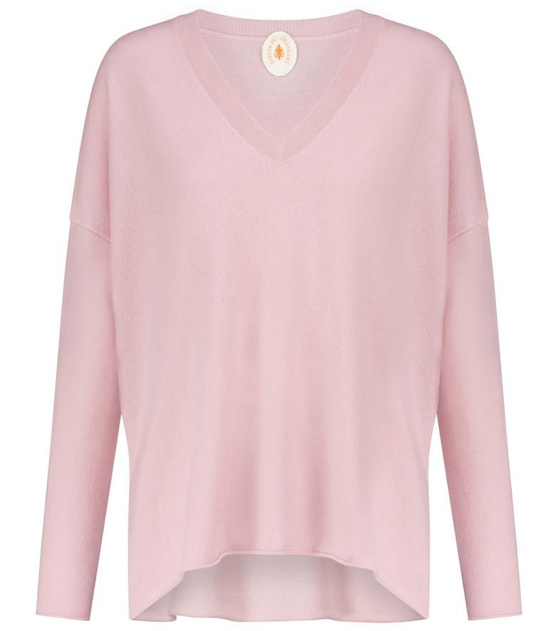 Jardin des Orangers Oversized V-neck cashmere sweater in pink
