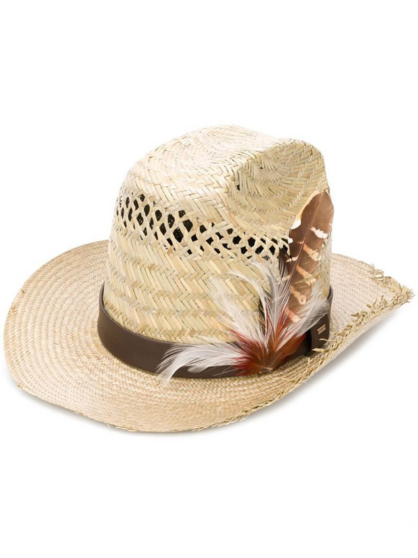 Saint Laurent feather-embellishment hat in neutrals