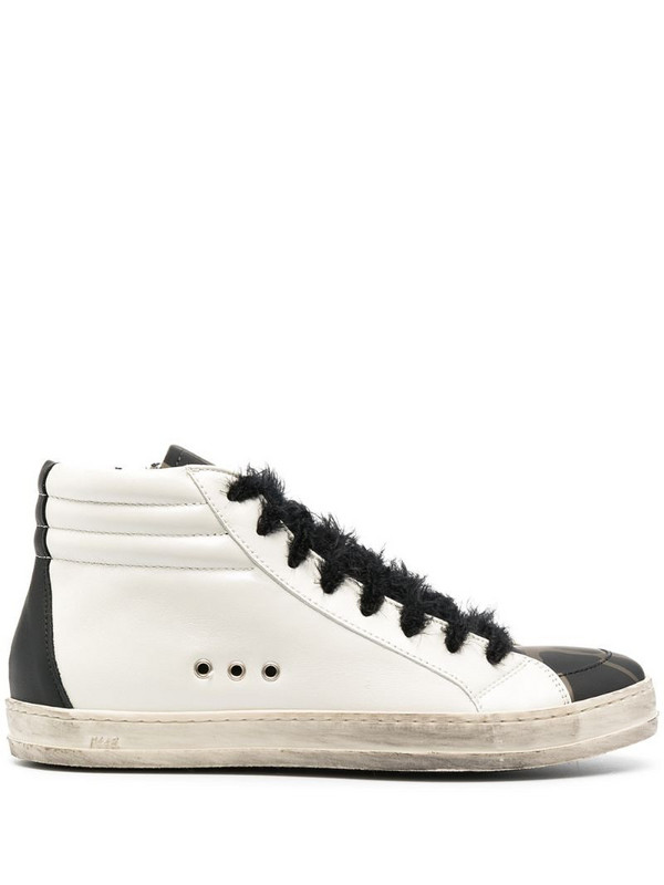 P448 camouflage print side zip sneakers in white