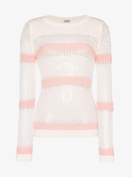 Miu Miu striped loose knit mohair wool blend jumper in white