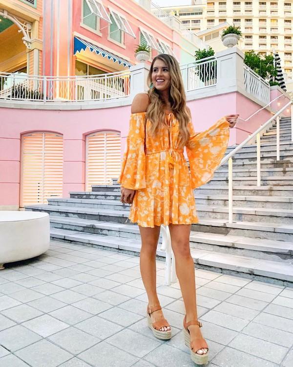 dress mini dress orange dress sandals