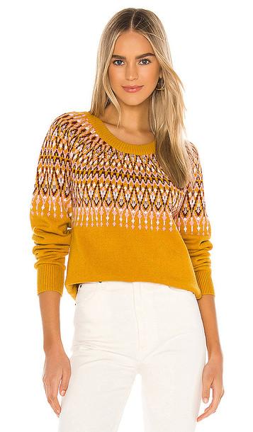 MINKPINK Lean On Fairisle Sweater in Mustard