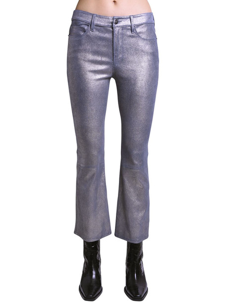 FRAME Shiny Coated Straight Suede Pants in silver