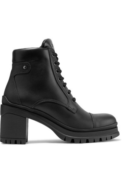 Prada - 55 Leather Ankle Boots - Black