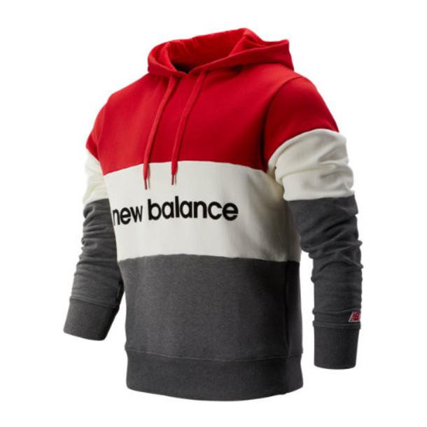 New Balance 93545 Men's NB Athletics Stadium Hoodie - Red/Off White/Grey (MT93545REP)