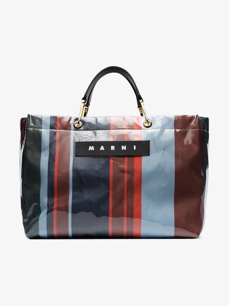 Marni large striped tote bag in blue