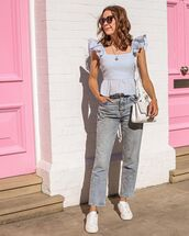 top,tank top,ruffle,white sneakers,h&m,straight jeans,white bag