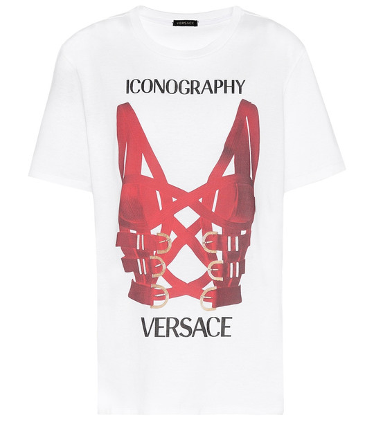 Versace Printed cotton-jersey T-shirt in white