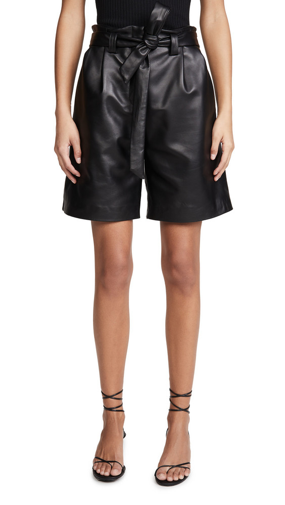 VEDA Luis Leather Shorts in black