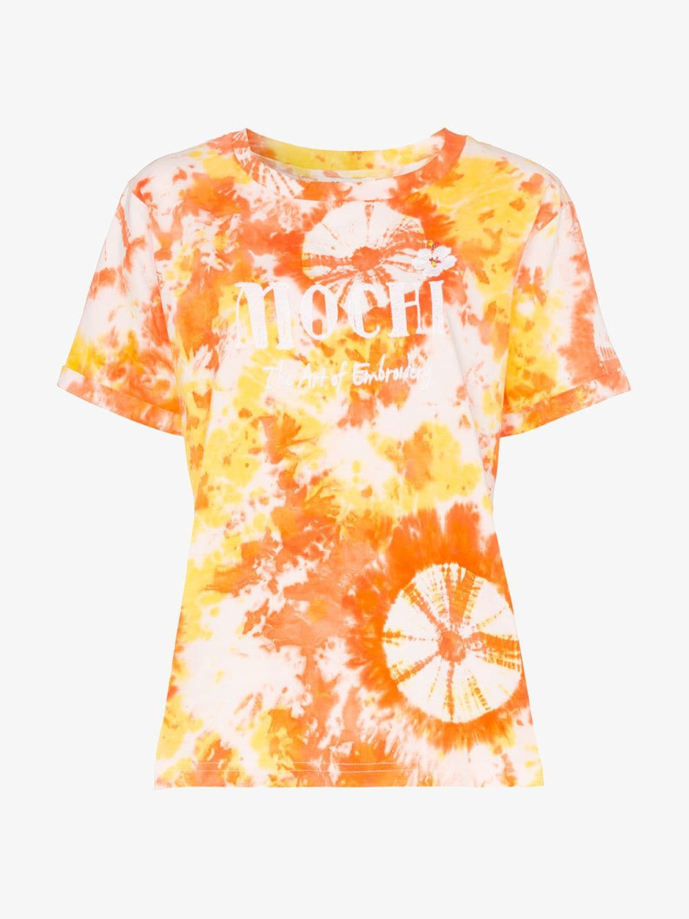 All Things Mochi logo embroidered tie-dye cotton T-shirt in orange