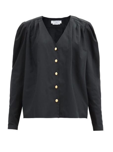 Françoise - Puffed-shoulder Cotton-poplin Shirt - Womens - Black